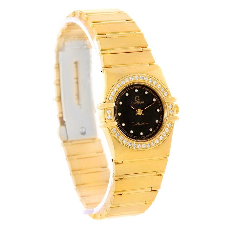 Omega Constellation 18 Karat Yellow Gold Diamond Black Dial Watch For Sale 1