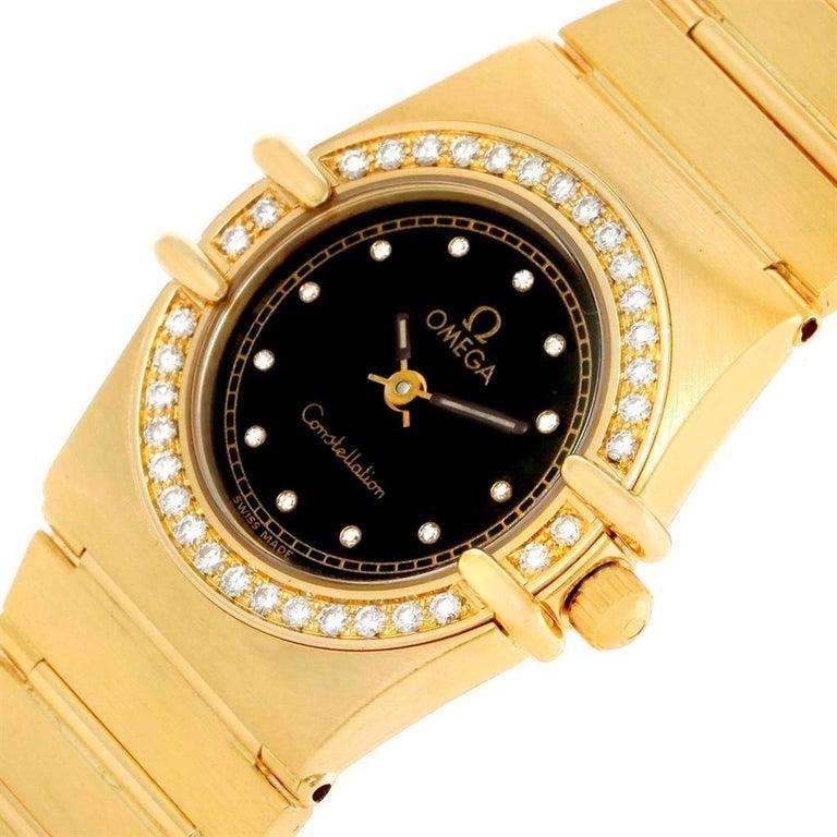 Omega Constellation 18 Karat Yellow Gold Diamond Black Dial Watch For Sale 3