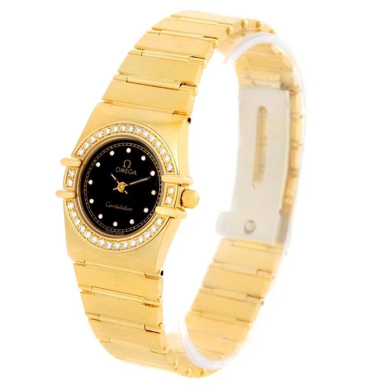 Omega Constellation 18 Karat Yellow Gold Diamond Black Dial Watch For Sale 4