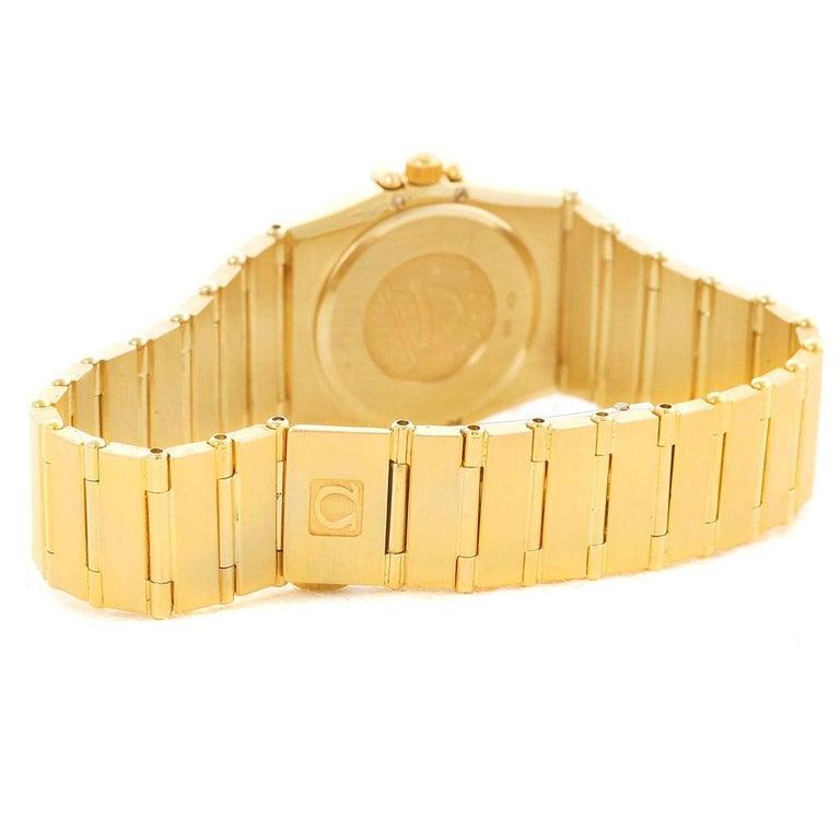 Omega Constellation 18 Karat Yellow Gold Diamond Black Dial Watch For Sale 5
