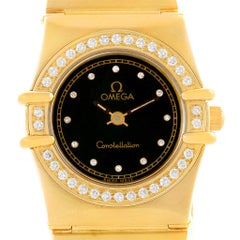 Omega Constellation 18 Karat Yellow Gold Diamond Black Dial Watch