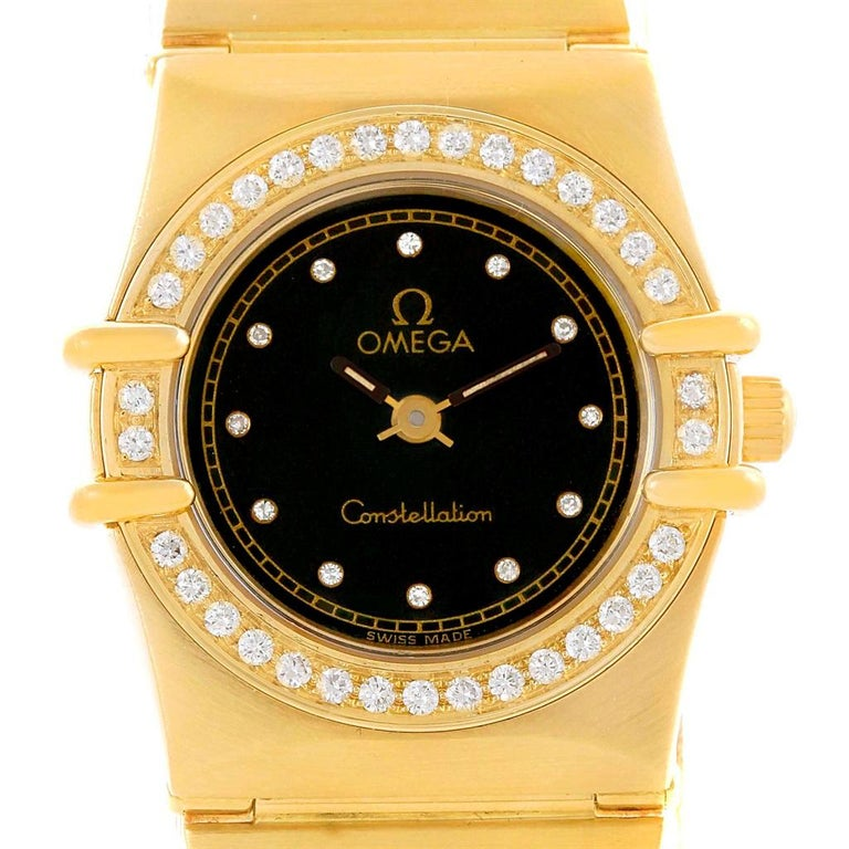 Omega Constellation 18 Karat Yellow Gold Diamond Black Dial Watch For Sale