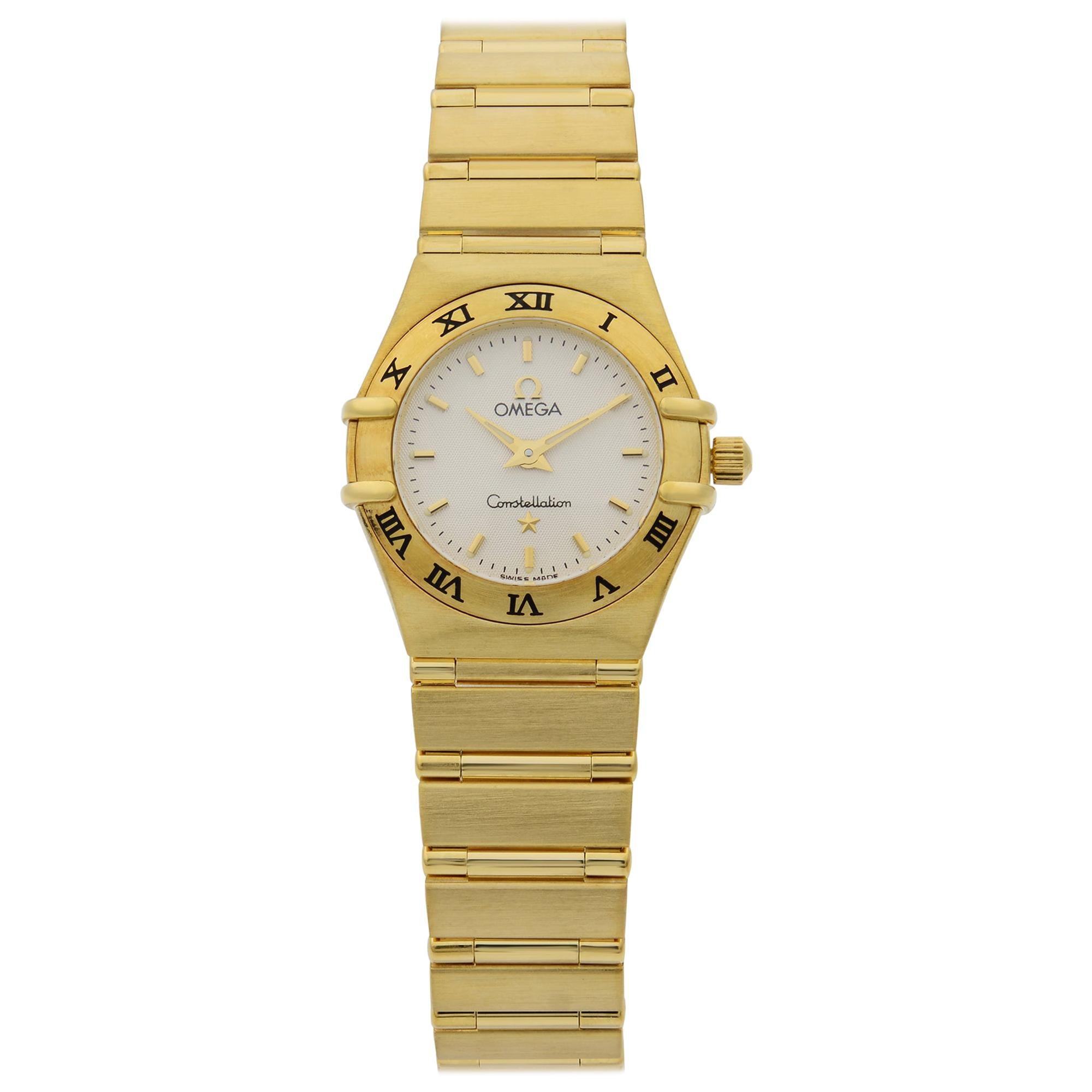 Omega Constellation 18 Karat Yellow Gold White Dial Quartz Ladies Watch