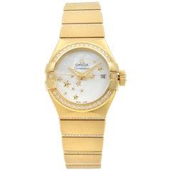 Omega Constellation 18K Gold Diamond Mop Dial Women's Watch 123.55.27.20.05.002