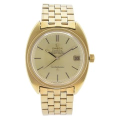 Omega Constellation 18k Gold Plated Steel Champagne Dial Mens Watch 168027