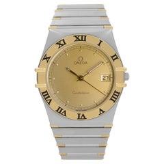 Omega Constellation 18K Yellow Gold Steel Mens Quartz Watch 396.1070.1