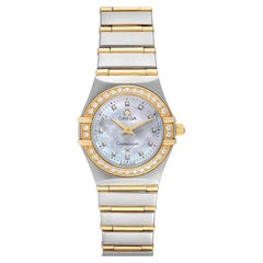 Omega Constellation 95 Mother of Pearl Diamond Watch 1267.75.00 Box Card