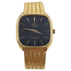 Omega Constellation Black Dial 18 Karat Yellow Gold