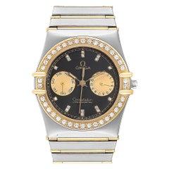Omega Constellation Chronograph Steel Yellow Gold Diamond Men's Watch
