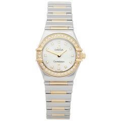 Omega Constellation Diamond Mother of Pearl Stainless Steel and Yellow Gold