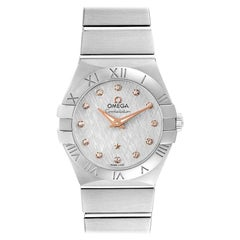 Omega Constellation Diamond Steel Ladies Watch 123.10.27.60.52.001 Card