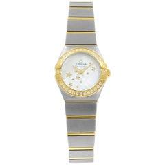 Omega Constellation Diamond Yellow Gold Quartz Ladies Watch 123.25.24.60.05.001