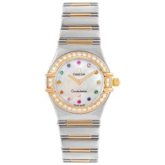 Omega Constellation Iris Steel Yellow Gold Multi Stone Watch 1365.79.00