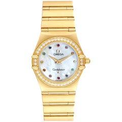 Omega Constellation Iris Yellow Gold Multi Stone Watch 1177.79.00 Box Card