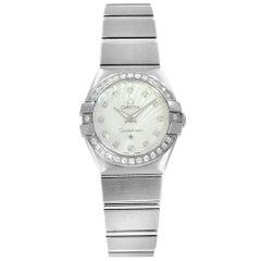 Omega Constellation MOP Dial Steel Diamond Quartz Watch 123.15.24.60.55.002