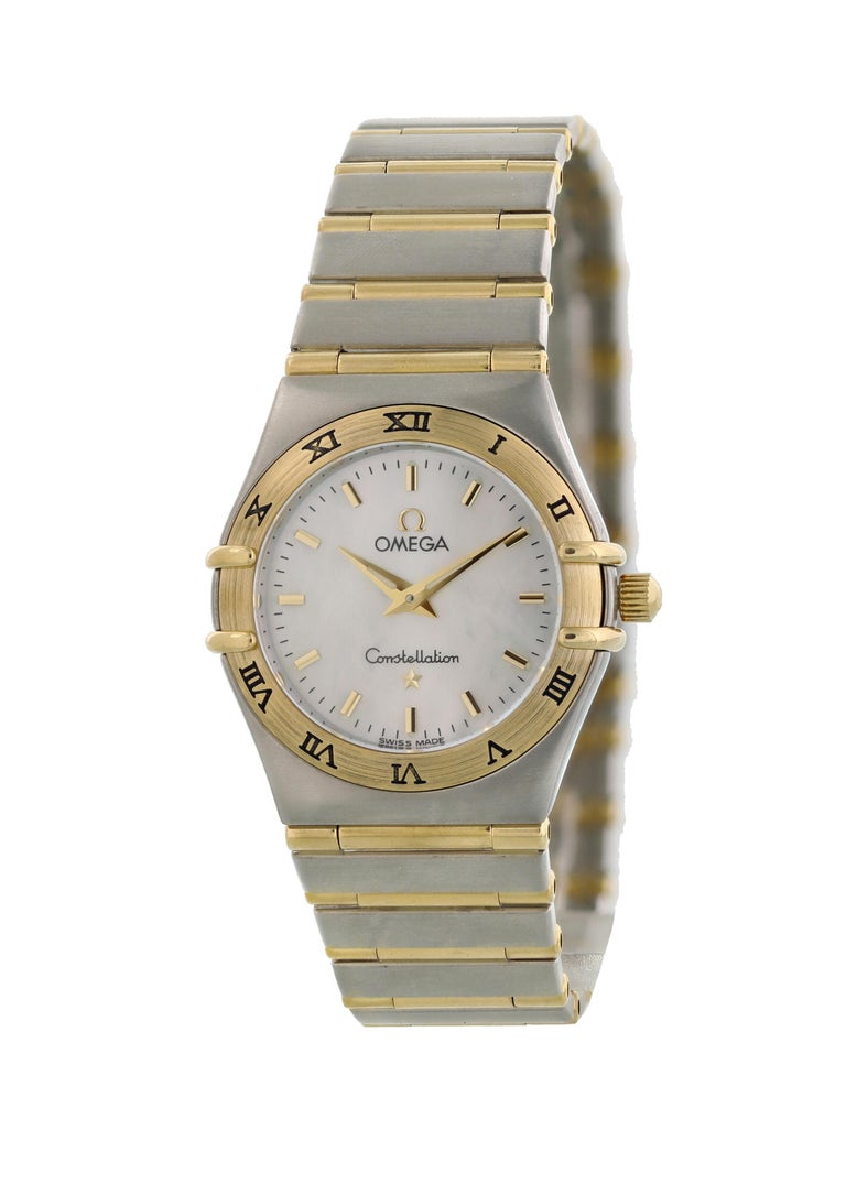 Omega Constellation MOP Ladies Watch. 26mm Stainless steel case. 18kt yellow gold fixed bezel with engraved Roman numerals. Mother of Pearl Dial with gold-tone hands and index hour markers. Stainless steel and 18kt yellow gold bracelet with