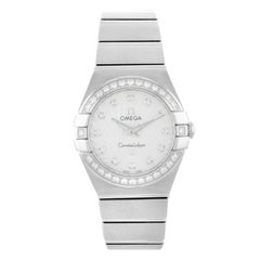 Omega Constellation MOP Steel Diamond Quartz Ladies Watch 123.15.24.60.55.002