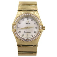 Omega Constellation Mother of Pearl Dial Diamond Bezel Watch