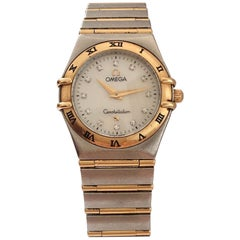 Omega Constellation Mother Pearl Yellow Gold and Steel Diamond Women's Watch