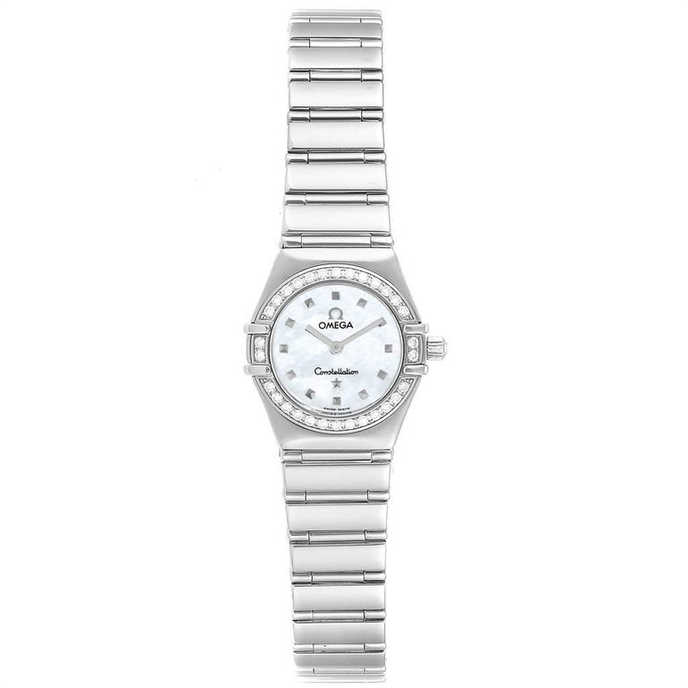 Omega Constellation My Choice Mini Diamond Steel Watch 1465.71.00. Quartz movement. Stainless steel round case 22.5 mm in diameter. Stainless steel diamond bezel. Scratch resistant sapphire crystal. Mother-of-pearl dial with pyramid hour markers.