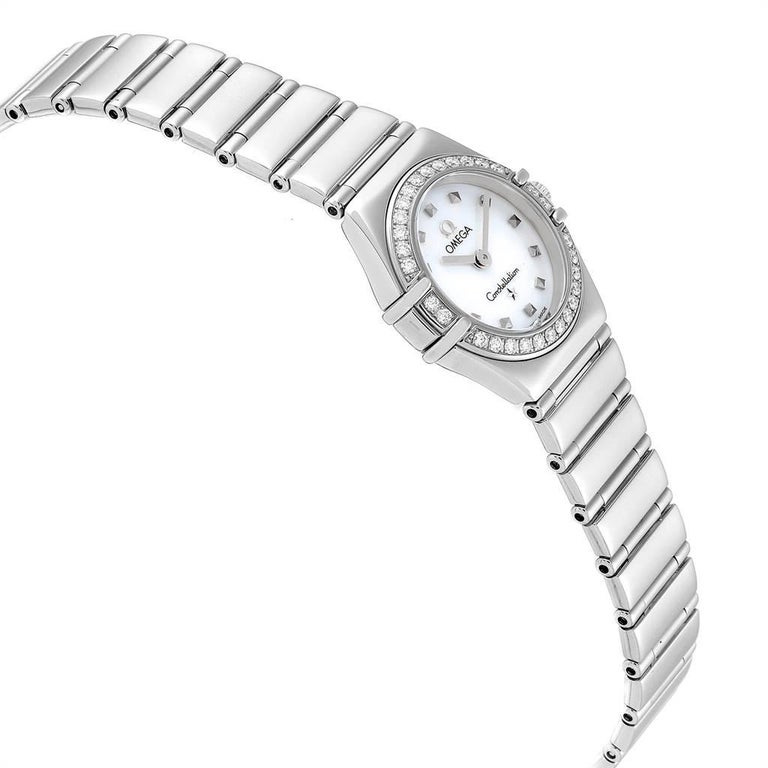 Omega Constellation My Choice Mini Diamond Steel Watch 1465.71.00 In Excellent Condition For Sale In Atlanta, GA