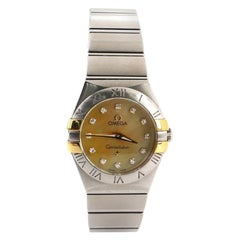 Omega Constellation Quartz Watch Stainless Steel and Yellow Gold with Diamond