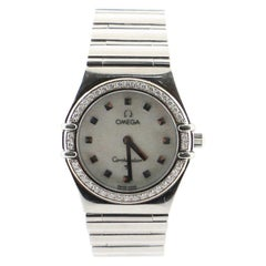 Omega Constellation Quartz Watch Stainless Steel with Diamond Bezel and Mother