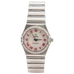 Omega Constellation Quartz Watch Stainless Steel with Diamond Bezel