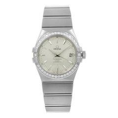 Omega Constellation Silver Dial Diamond Steel Men's Watch 123.15.35.20.02.001