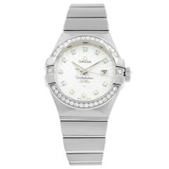 Omega Constellation Silver Diamond White Gold Ladies Watch 123.55.31.20.55.003