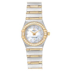 Omega Constellation Steel Yellow Gold MOP Diamond Ladies Watch 1267.75.00