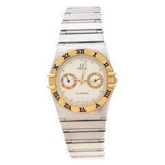 Omega Cream 18K Yellow Gold Stainless Steel Constellation Unisex Wristwatch 33mm