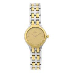 Omega De Ville 18 Karat Gold Steel Gold Dial Quartz Ladies Watch