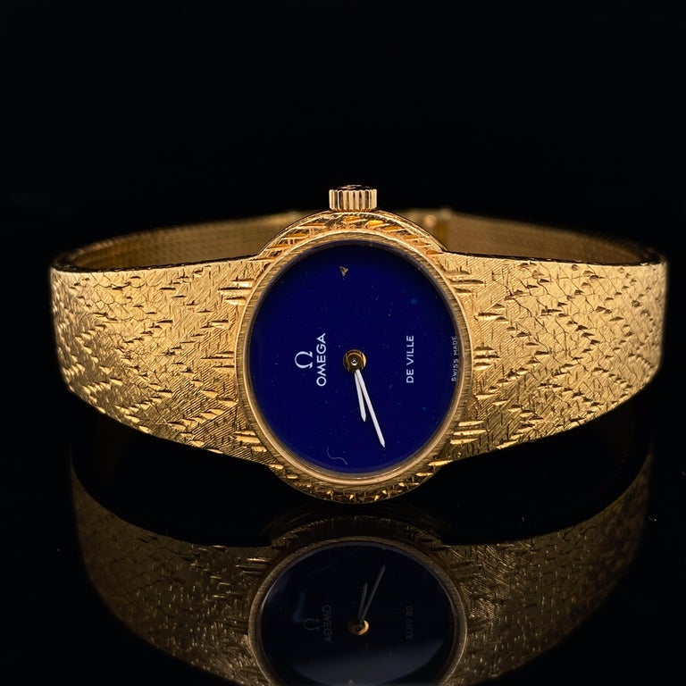 Portrait Cut Omega De Ville Ladies 18 Karat Yellow Gold Lapis Lazuli Manual Wind Wristwatch For Sale