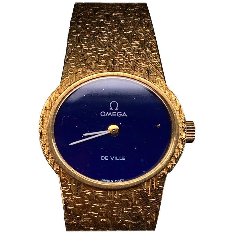 Omega De Ville Ladies 18 Karat Yellow Gold Lapis Lazuli Manual Wind Wristwatch For Sale