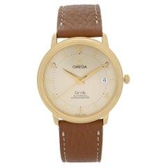 Omega De Ville Prestige 18k Gold Cream Dial Mens Automatic Watch 4612.30.02