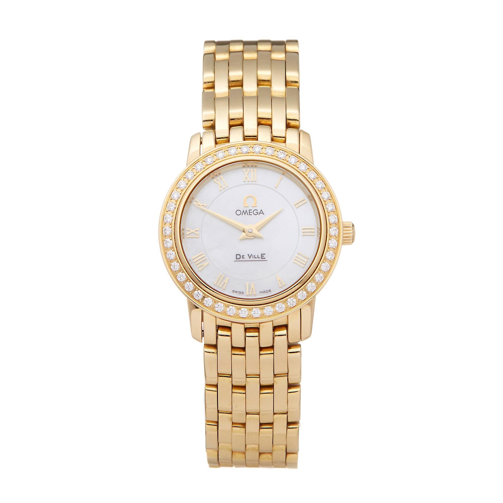 Omega De Ville Prestige Diamond 18 Karat Yellow Gold 41757100 Wristwatch