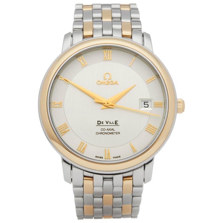 Omega De Ville Stainless Steel and Yellow Gold 4374.31.00 For Sale
