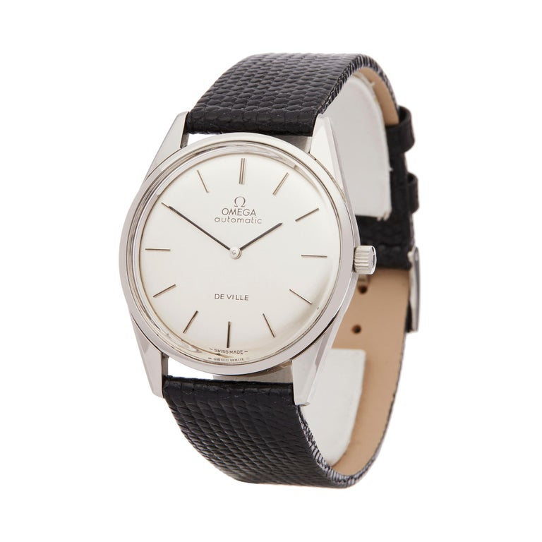 Reference: COM2130 Manufacturer: Omega Model: De Ville Model Reference: 1550019 Age: Circa 1973 Gender: Men's Box and Papers: Original Omega Box Only Dial: Silver Baton Glass: Plexiglass Movement: Automatic Water Resistance: To Manufacturers