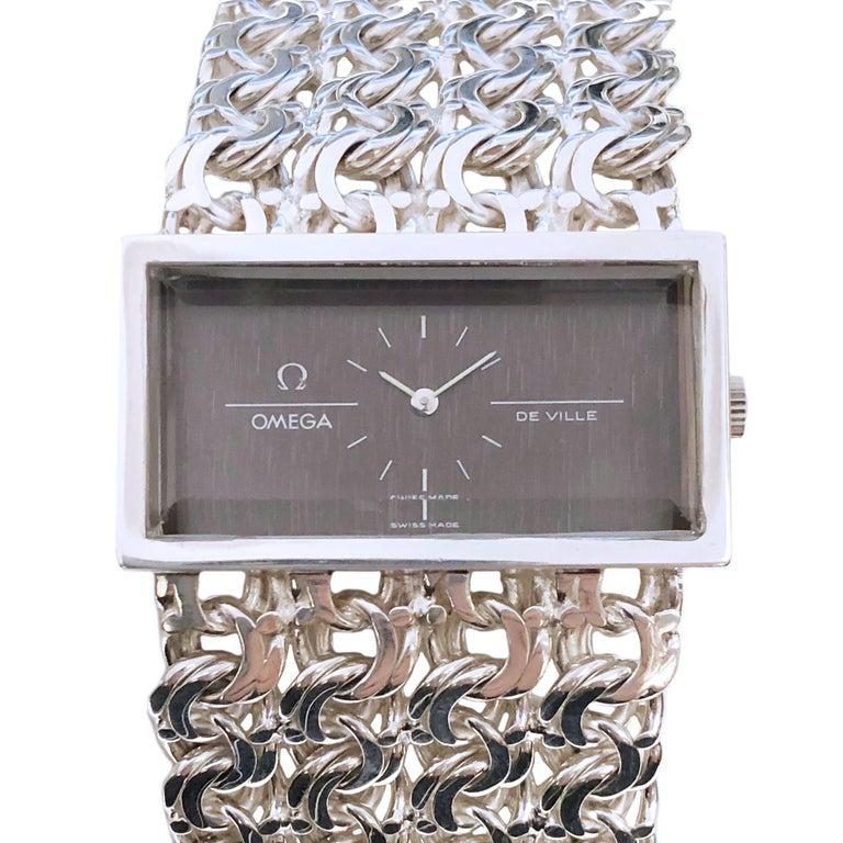 Omega De Ville Vintage Large Silver Mechanical Bracelet Watch For Sale