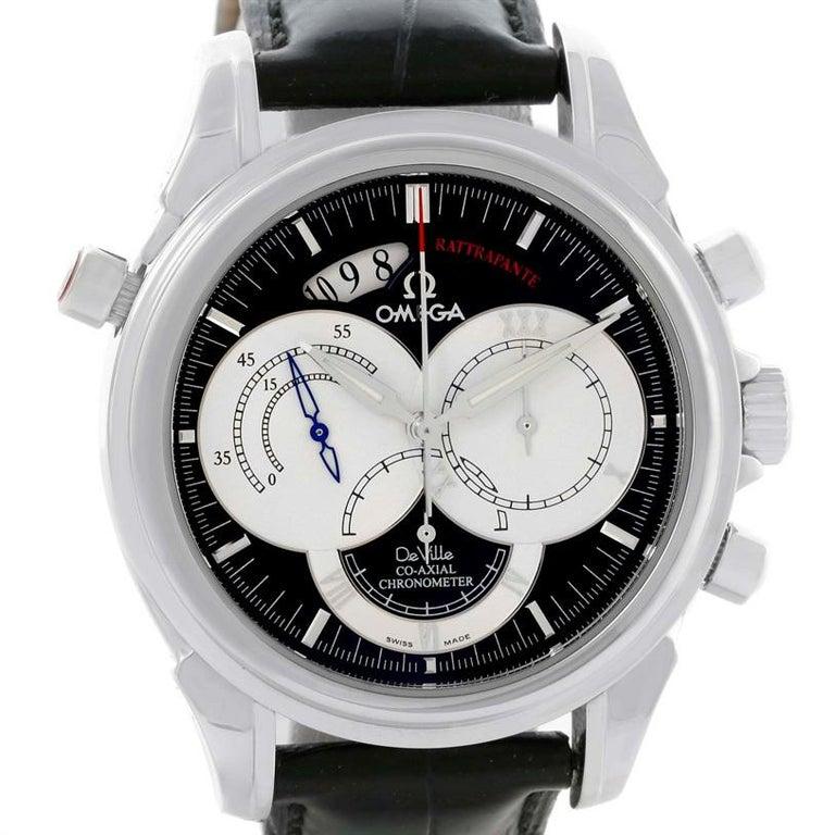 5b6cb874d968d Men s Omega DeVille Co-Axial Rattrapante Black Strap Watch 4847.50.31 For  Sale