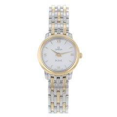 Omega DeVille Prestige Steel Gold Quartz Ladies Watch 424.20.24.60.05.001 Mint