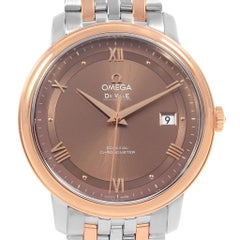 Omega DeVille Prestige Steel Rose Gold Brown Dial Watch 424.20.40.20.13.001