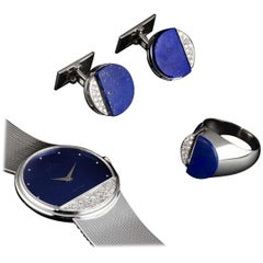 Omega Diamond Lapis Lazuli DeVille Quartz Watch and Cufflinks and Ring