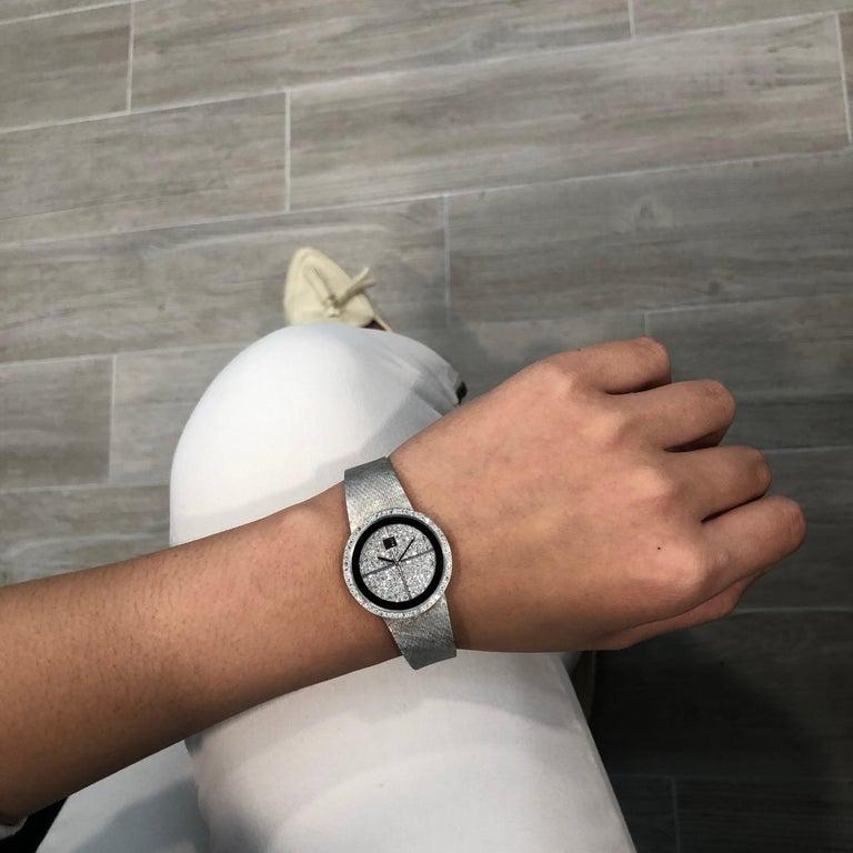 Women's Omega Diamond Manual Wind Ladies Wristwatch, 18 Karat White Gold For Sale