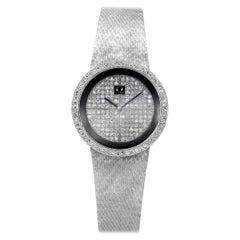 Omega Diamond Manual Wind Ladies Wristwatch, 18 Karat White Gold