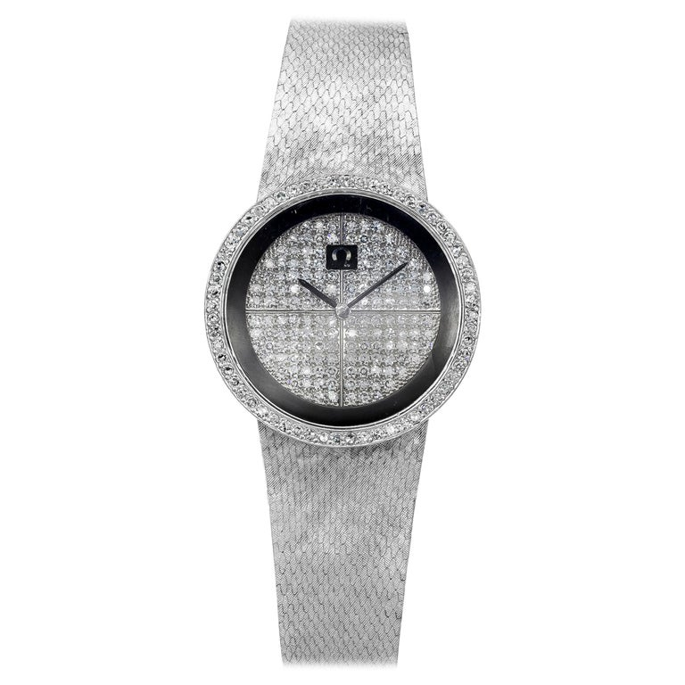 Omega Diamond Manual Wind Ladies Wristwatch, 18 Karat White Gold For Sale