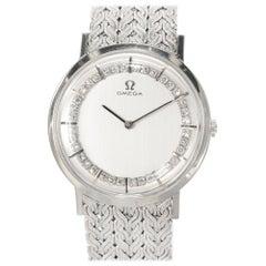 Omega Diamond White Gold Unisex Wristwatch