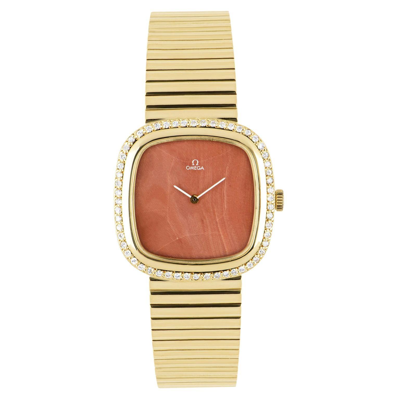 Omega Dress Watch Men's Yellow Gold Diamond Set
