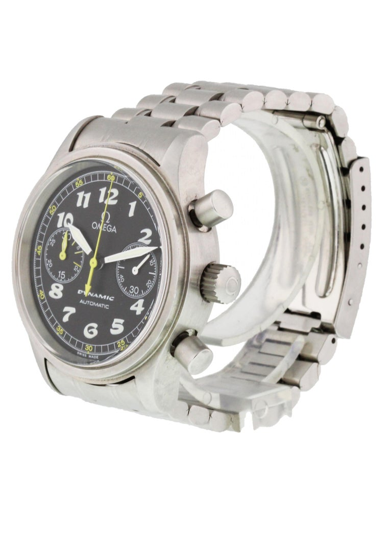 Omega Dynamic III 5240.50.00 Mens Watch. 38mm stainless steel case with smooth bezel. black dial with luminous hands and Arabic numeral hour markers. Two chronograph subdials. Stainless steel bracelet with a fold over clasp will fit up to a 7y inch